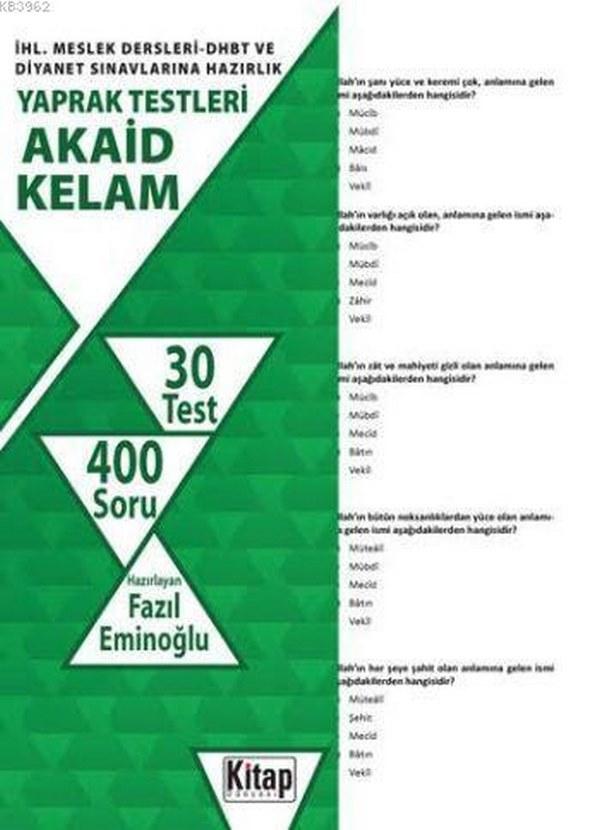 İhl Meslek Dersleri DHBT Diyanet Sınavlarına Hazırlık Yaprak Testleri Akaid Kelam (30 Test 546 Soru)-